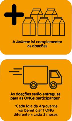 A adimax irá complementar as doações. As doações serão entregues para as ONG participantes*. *Cada loja da Agroverde vai beneficiar 1 ONG diferente a cada 3 meses.